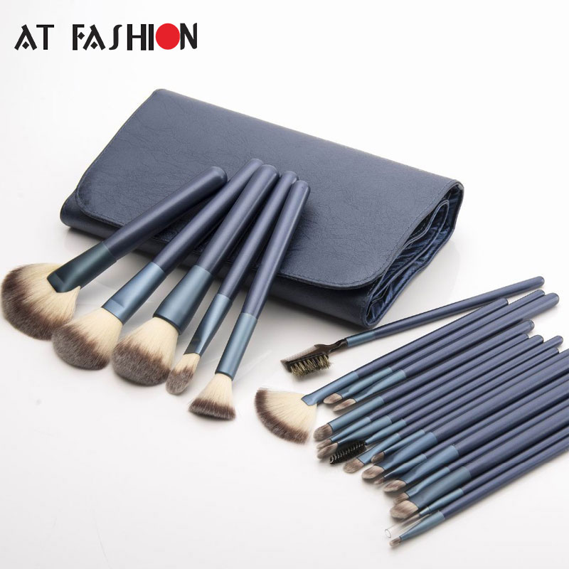 AT FASHION New 22 pcs Makeup Brushes Set Eyeshadow Eyeliner Blush Foundation Cosmetic Beauty Make Up Brush Tools Kit with Bag купить