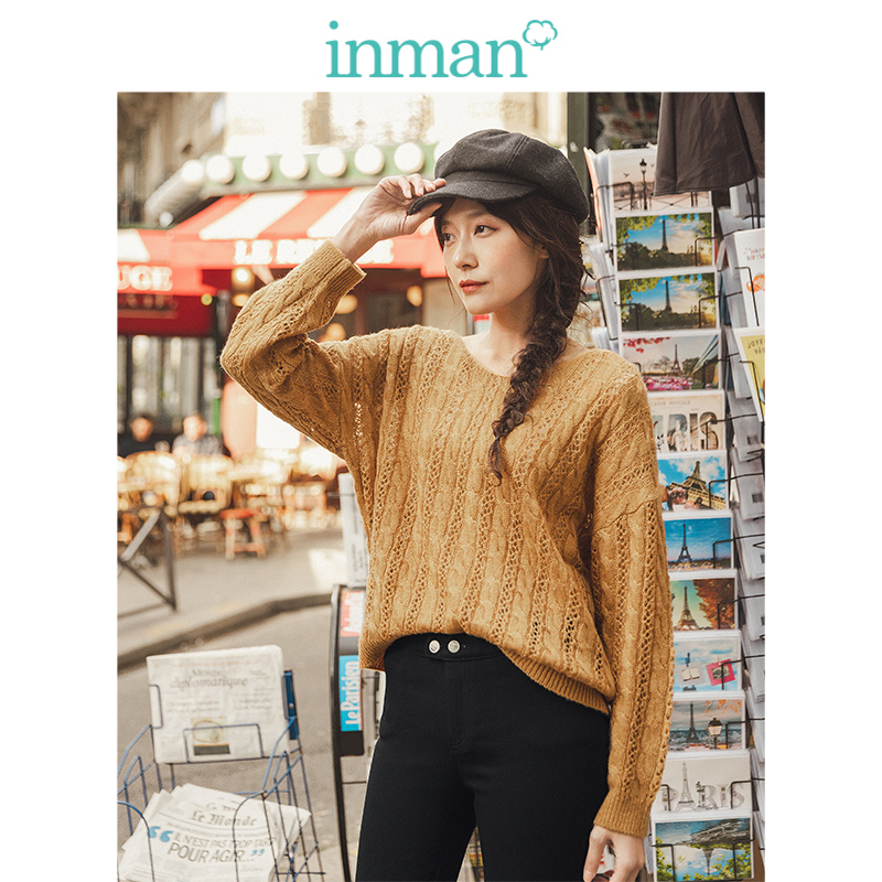 INMAN Spring Autumn Elegant V-neck Lace Literary Women Pullover