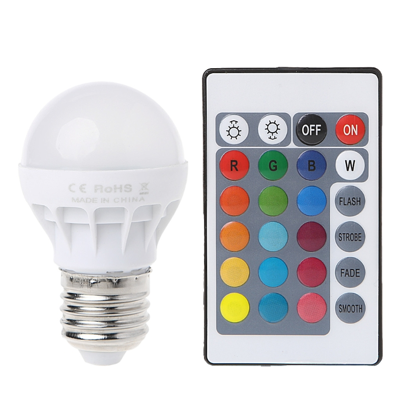Remote Control LED Light Bulb Lamp Color Changing3 W E27 AC 85-265V RGB+IR