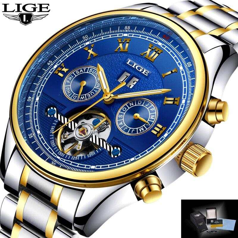 LIGE Для мужчин s часы лучший бренд класса люкс Автоматическая механические часы Для мужчин полный Сталь Бизнес Водонепроницаемый спортивные...