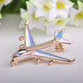 Blucome Cute Little Airplane Brooch Blue Enamel Gold Plated Metal Brooches Pin Fighter Aircraft Model Jewelry Suit Clothes Clips