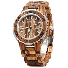 BEWELL Luxury Brand Wooden Men Quartz Watch with Luminous Hands Calendar Water R
