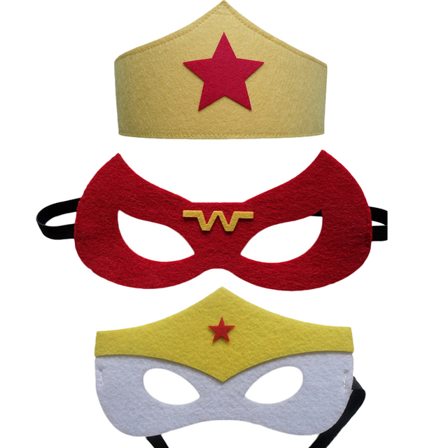 1pc wonder woman mask superman batman the flash captain marvel robin dc justice league kids birthday