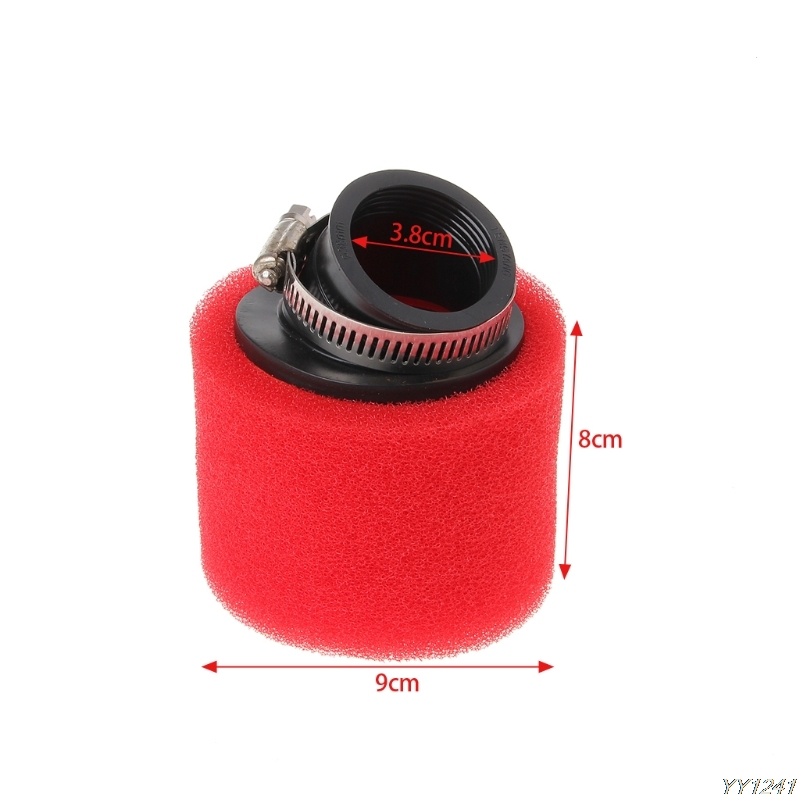 RED 38mm Bent Angle Foam Inner Air Filter Cleaner PIT Quad Dirt Bike ATV Buggy