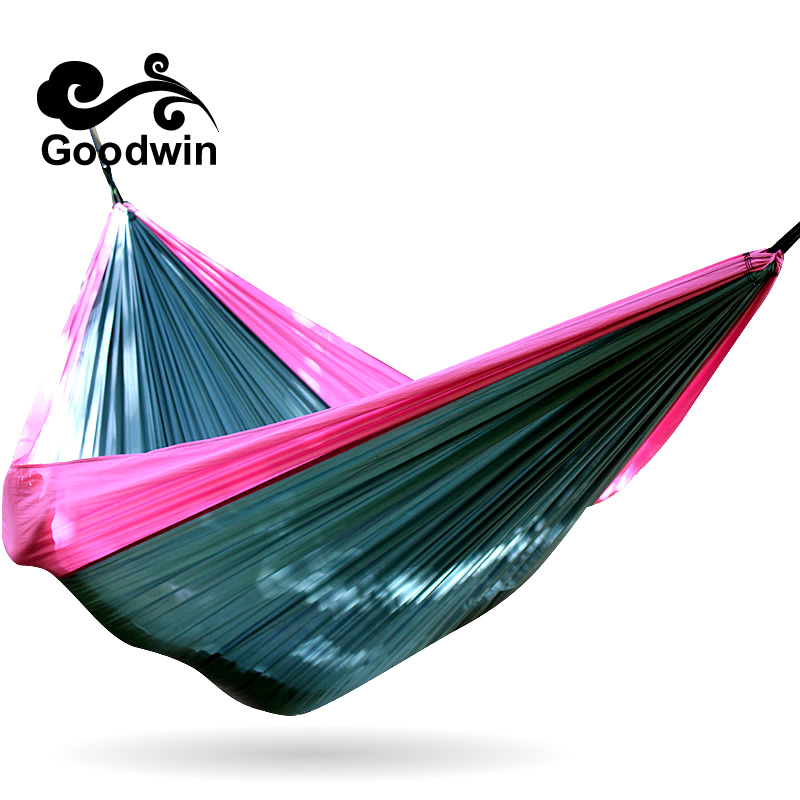 300*200cm 2 Person Portable Folding Hammock Patio Swing Outdoor Camping Canvas Cotton Double Parachute Tassels Hammock Straps