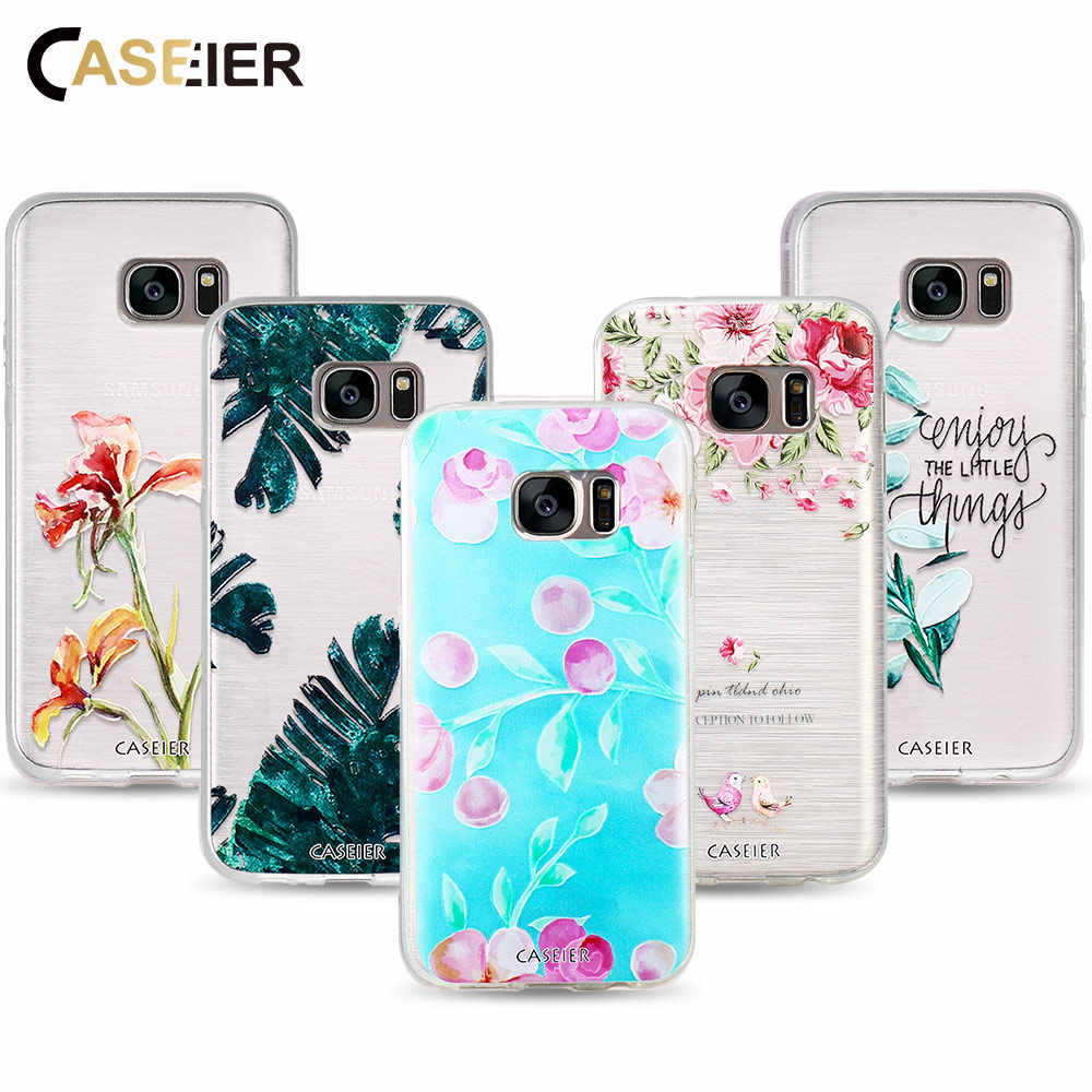 CASEIER Beautiful Plant Phone Case For Samsung Galaxy S6 S7 Edge S8 Plus Cases Soft Silicone Cover For Galaxy Note 8 Funda Shell