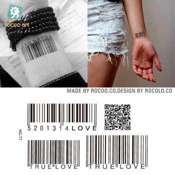 2pcs/lots Waterproof tattoo of male and female small fresh wrist tattoo custom wholesale HC1077 two-dimensional code pattern golden state of mind colourpop