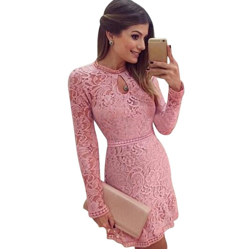 Buy Cheap New Arrive Vestidos Women Fashion Casual Lace Dress 2017 O-Neck Sleeve Pink Evening Party Dresses Vestido de festa Brasil Trend
