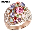 Female Jewellery Crystal from Swarovski Engagement Rings Rose Gold Plated Ladies Rhinestone Wedding Rings For Women  4690