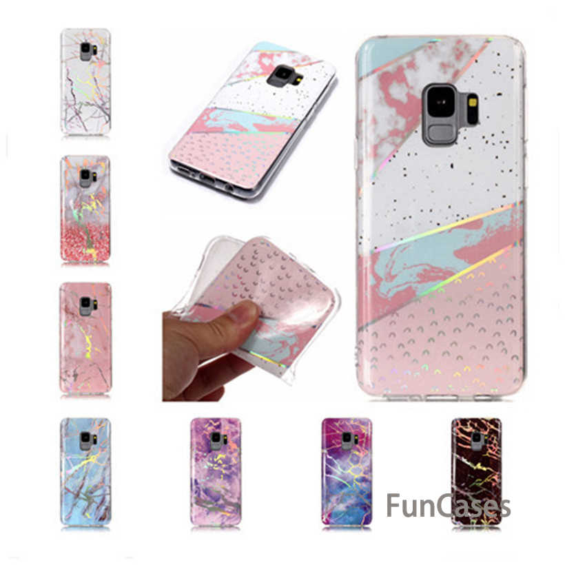 Case untuk Samsung Galaxy S9 Case Lembut untuk Samsung S9 S8 Plus S7 S6 Edge S3 S4 S5 Silicone Case laser Marmer Ponsel Shell Samaung