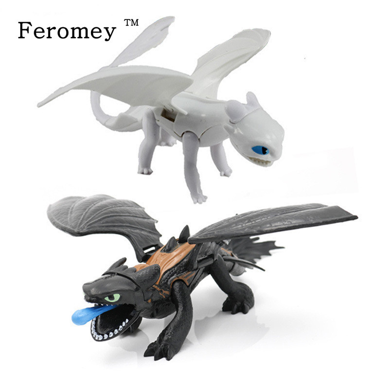 Toys Model-Figures-Toy Train Toothless Night-Fury-Light How Movie Your Dragon 3-Black/white