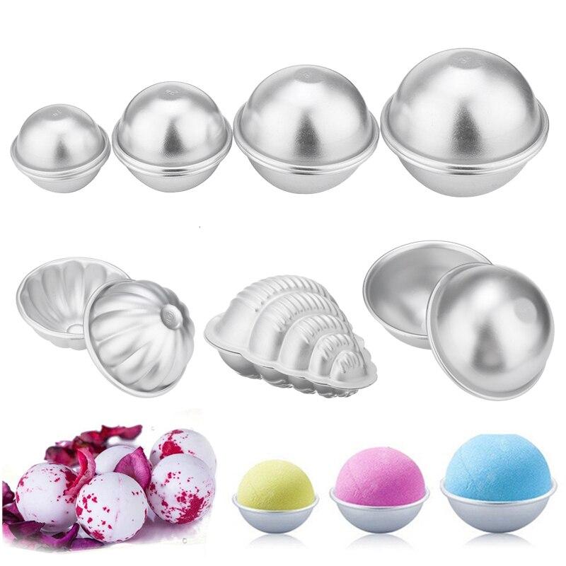 2pcs/8pcs Aluminum Alloy 3D Bath Bombs Mold Bath Salt Bomb Mold Ball Sphere Shape DIY Bathing Tool Accessories