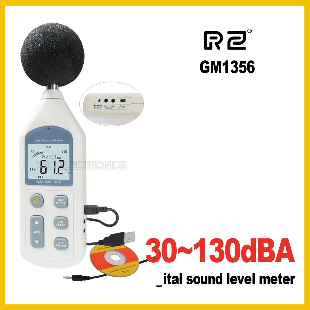 RZ New Digital Sound Level Meter Meters Noise Tester GM1356 30-130dB LCD A/C FAST/SLOW dB screen USB + Software new digital 6 30