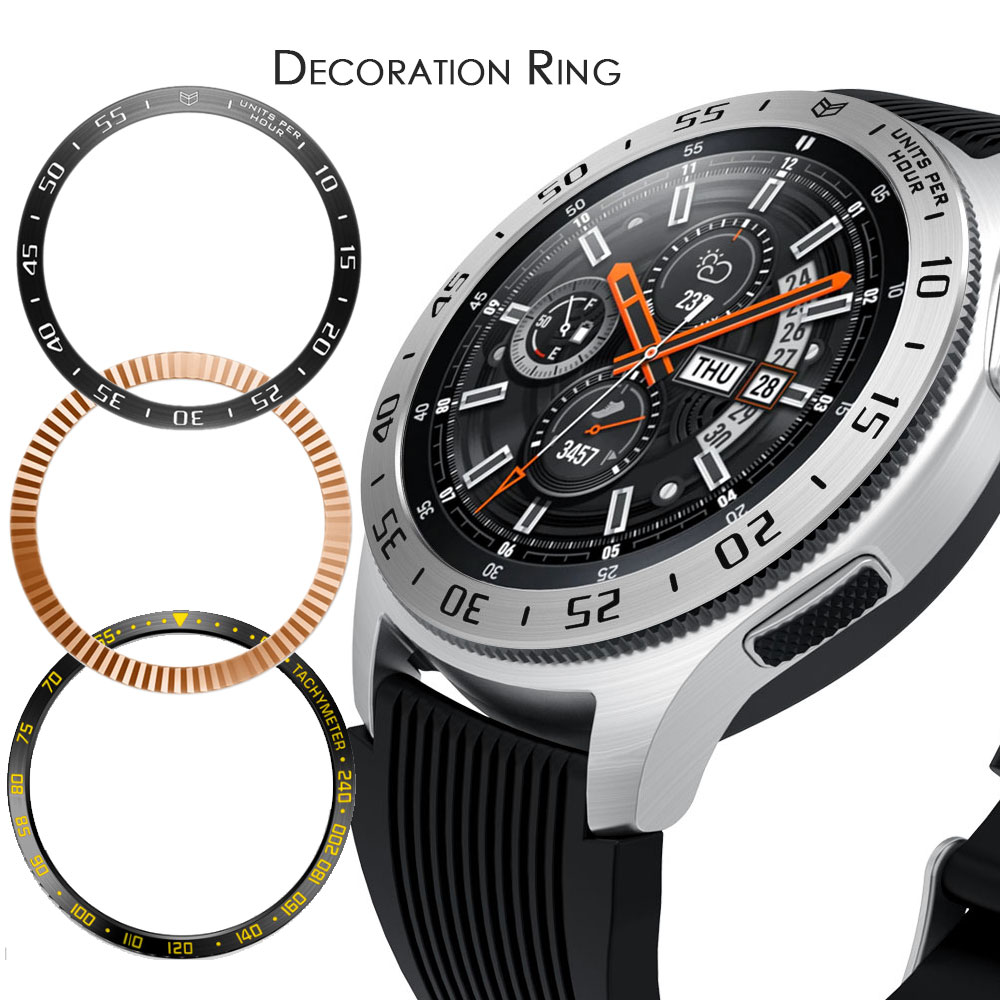 Metal Bezel For Samsung Galaxy Watch 46mm/42mm Case Gear s3 Frontier/Classic sport Adhesive Cover band strap Accessories