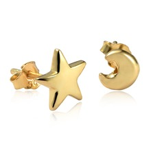 Dormith Women's 925 sterling silver Moon and star stud earrings 18K gold plated