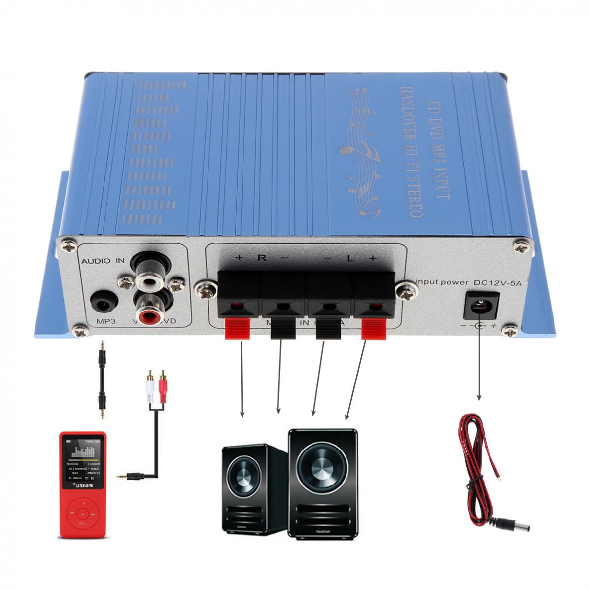 Lightweight aluminum Car Audio super bass Amplifier 12V CD/DVD/MP3 Input Hi-Fi Car Stereo Audio Amplifier 2 channels RMS 20W+10W