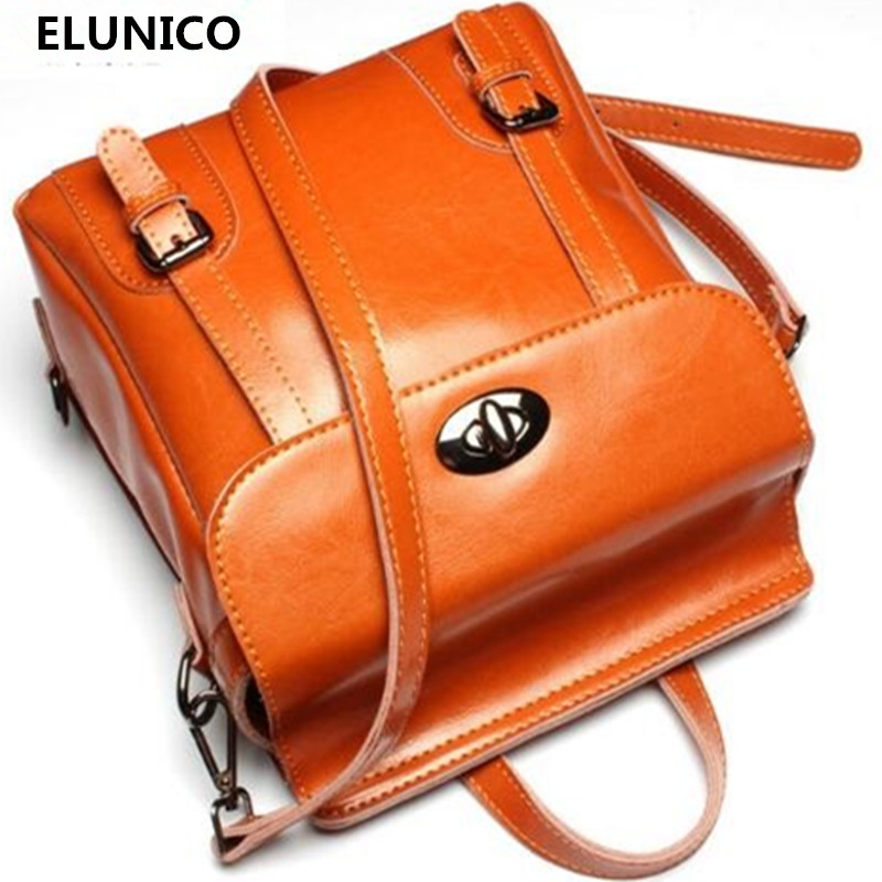 ELUNICO Brand New Design Bags for Women 2018 Vintage 100% Real Leather Laptop Backpack High Quality Cowhide Mochila Feminina brand mochila feminina women s 100