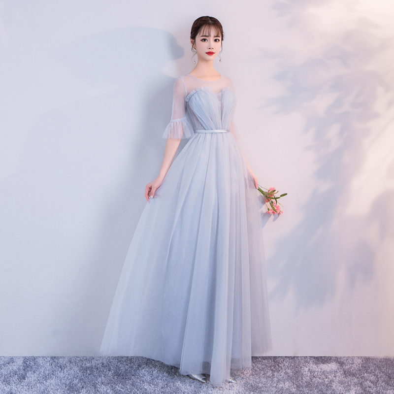 Wedding Party Dress  Blue Gery Colour Bridesmaid Dress  Pleat  Long Floor Length Back of Bandage