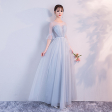 Wedding Party Dress  Blue Gery Colour Bridesmaid Dress  Pleat  Long Floor Length Back of Bandage работа над собой в творческом процессе воплощения
