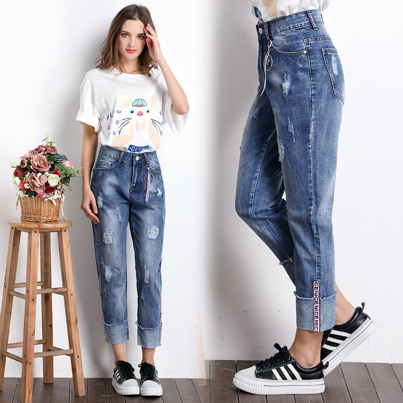 Fengmeisi 2017 Women Ripped Jeans femme Plus Size Vintage Female Ladies Blue Denim ankle-length Pants loose Casual Fashion P3556 thunder star women flower printed skinny jeans femme plus size female 2017 ladies blue denim pencil pants casual brand fashion