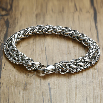 Double Chain Bracelet Men Stainless Steel Wristands In Sliver Color Male Accessories 8.3 inch