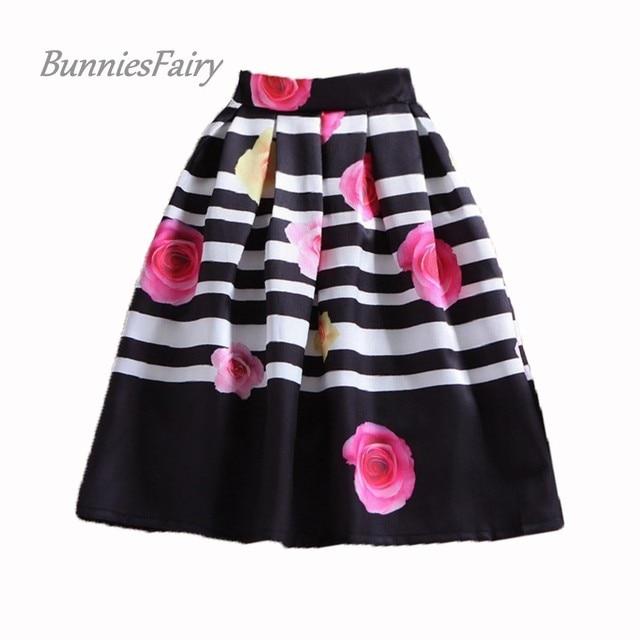 BunniesFairy Womens Sweet Retro Pink Rose Flower Print Black White Striped Long Midi Skirt High Waist Pleated Tutu Saia Feminina
