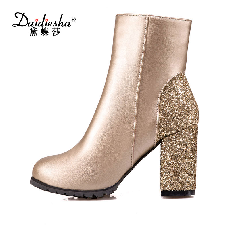 Daidiesha  2017 Round Toe PU Leather Western Style Women Shoes Square High Heel Ankle Boot Women Winter Snow Boot Size 31-48 vinlle women boot square low heel pu leather rivets zipper solid ankle boots western style round lady motorcycle boot size 34 43