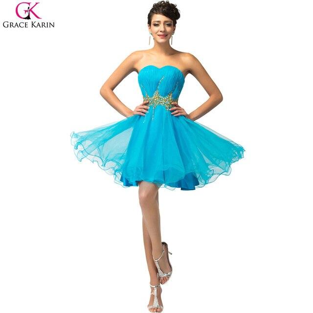 58b8cc4b488 Vestidos Corto De Gala Vestido De Baile Grace Karin Strapless Voile Sequin Blue  Pink Short Puffy Prom Dresses Party Dress CL4972