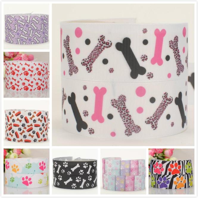 50% Sales 5/10/20 Yards Dog Paw Ribbon Pattern Printed Grosgrain Ribbon Random Delivery