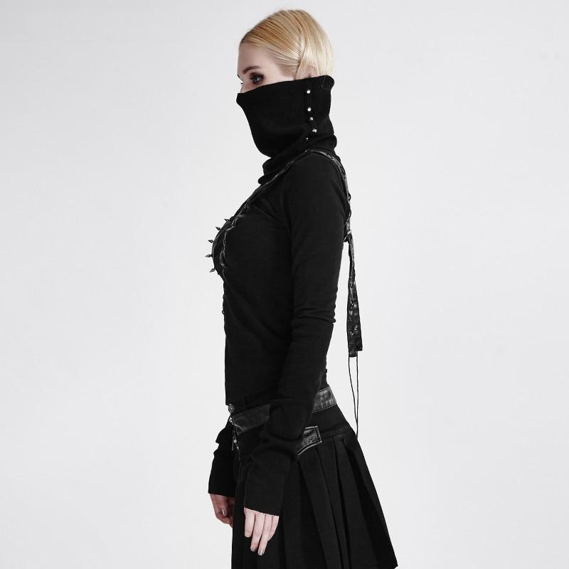Steampunk Frau Schwarz High Neck Backless Asymmetrische Stricken T shirt Maske Stil Casual Langarm T shirt Tops - 2