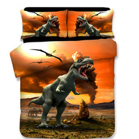 NEW 3D Dinosaur Cartoon Children Duvet Cover Set 3Pcs Set Twin Full Queen King Bedding Sets housse de couette luxury bedclothes