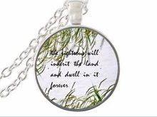 the righteous will inherit the land and dwell in it forever scripture quote jewelry for women men christian faith gifts(China)