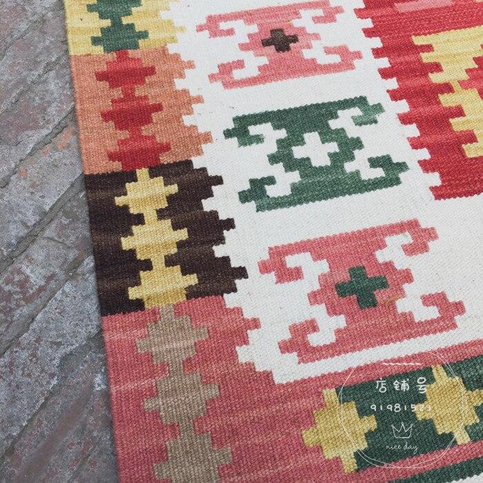 Tapis kilim tissé à la main artisanat de fabrication de laine à la main nouvelle liste tapis à tricoter en laine géométrique traditionnelle - 2