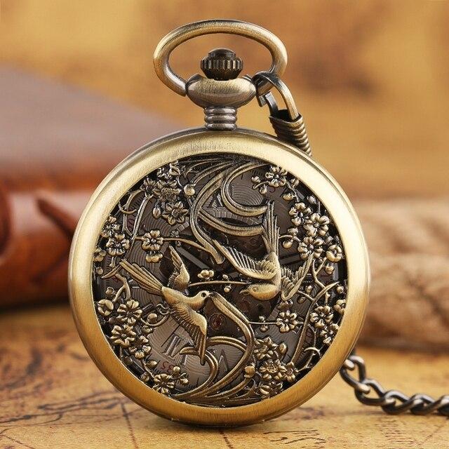 910335792ba Pega do vintage Esqueleto Auto Vento Automático Relógio de Bolso Mecânico  Homens Mulheres Bronze Fob Relógio