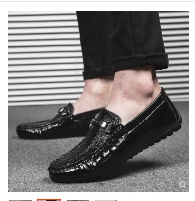 2019 four seasons new men's shoes casual shoes crocodile shine leather loafers business trend beanshoesmen shoes 1