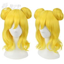 Pripara Minami Mirei Golden Wig Cosplay Hair Halloween Base Buns
