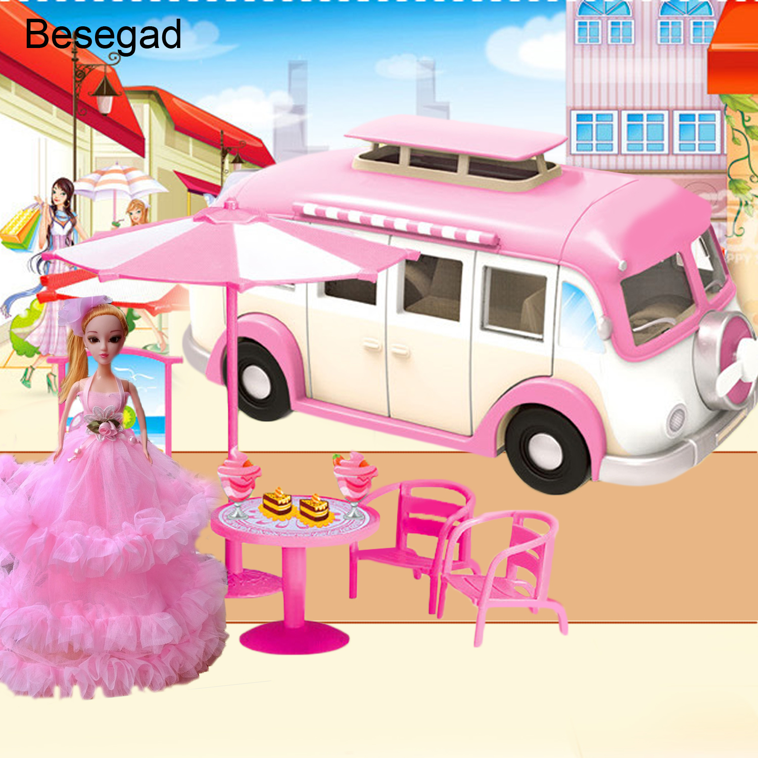 Besegad Fashion Cute Simulation Motorhome Camper Car Toys Accessories Compatible for Barbie Doll Girls Birthday Christmas Gifts