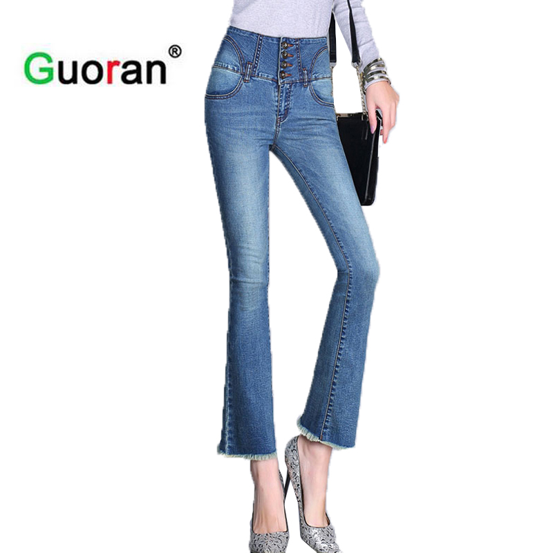 {Guoran} fashion women summer denim Jeans pants capri flare jeans trousers 2017 plus size femme pantalon Ripped jean High waist zbaiyh 2017 summer fashion high waist jeans women ripped jean retro boyfriend femme vaqueros mujer plus size jeans denim pants