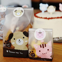 Cookie Packaging Cute Dog Cat Plastic Bags For Biscuits Snack Bakery Food Stand-up Baking Package Plastic Gift Bags With Sticker(China (Mainland))