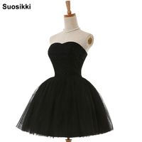 Suosikki Black A Line Cocktail Dresses New Arrival Hot Sexy Flowing Knee Length Lace Cocktail Party Dress 2018