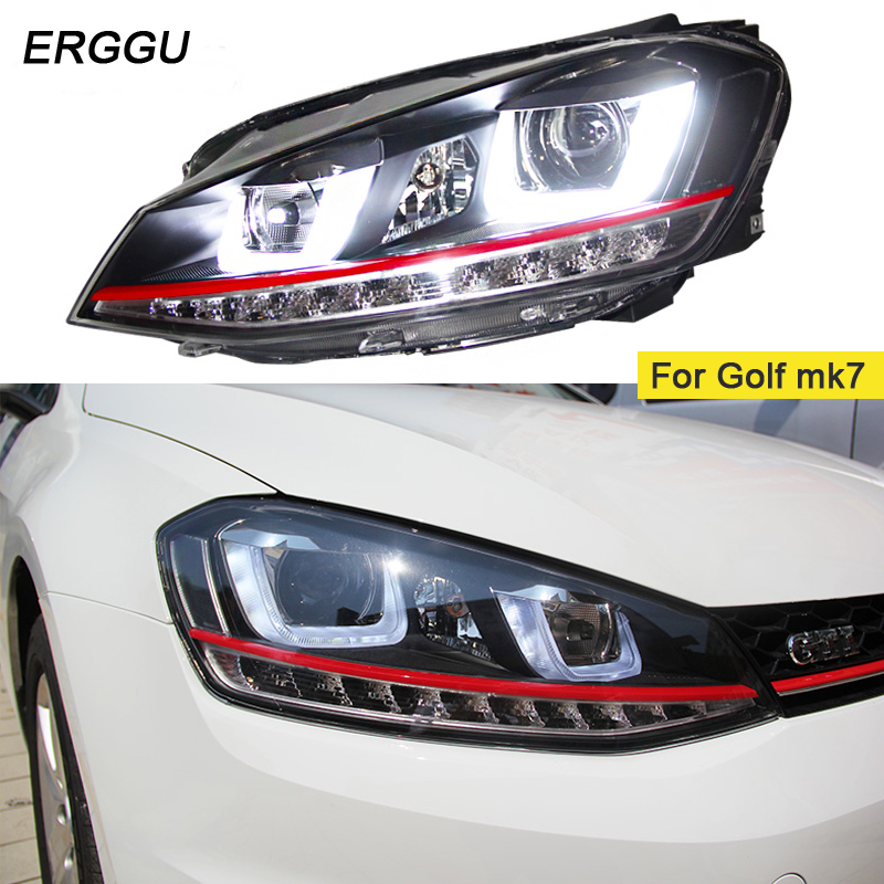 ERGGU Car Styling Headlight for VW GOLF 7 MK7 GOLF7 Headlights LED Head lamp DRL Lens Double Beam Bi-Xenon HID accesseries free shipping for vland car styling head lamp for vw golf 7 headlights led drl led signal h7 d2h xenon beam