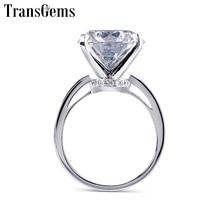 TransGems anillo de compromiso de moissanita para mujer, sortija de oro blanco de 14 quilates, 14K, piedra preciosa grande, 14mm