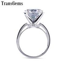 Transgems ビッグ宝石センター 14 ミリメートル 10ct カラットモアッサナイト婚約指輪の女性の結婚式本物の 14 18k ホワイトゴールド女性リング
