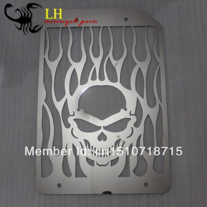 Motorcycle Accessories Parts Chrome Skull Flame Stainless Radiator Grille For Kawasaki Meanstreak VN1500 VN1600 VN1700 All Years