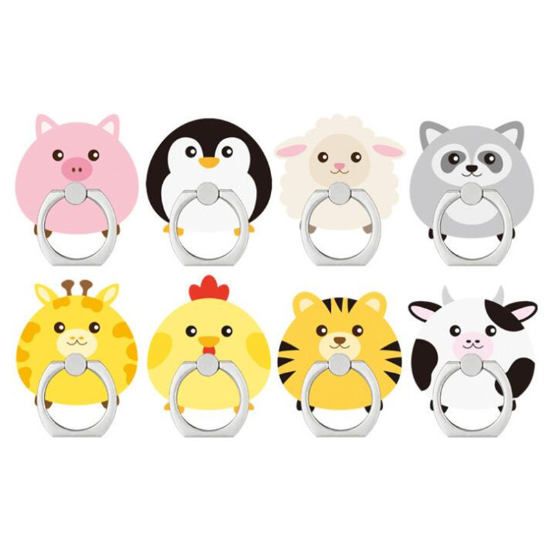 Cartoon Animal Cow Sheep Dog Mobile Phone Stand Holder Finger Ring Smartphone Cute Bear Holder Stand For Samsung All Phone