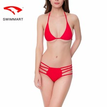 SWIMMART bikini red sexy straps open swimsuit swimwear women swimsuit high waist bikini push up swimming suit for women swim sui