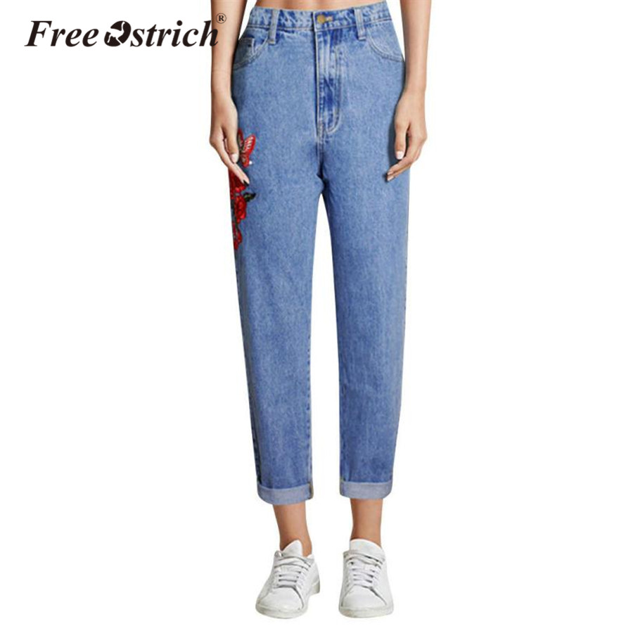 2018 Plus Größe Jeans Mit Stickerei Blumen Frau Hosen Hosen Hohe Taille Jeans Frauen Plus Größe Sep28 Hoher Standard In QualitäT Und Hygiene