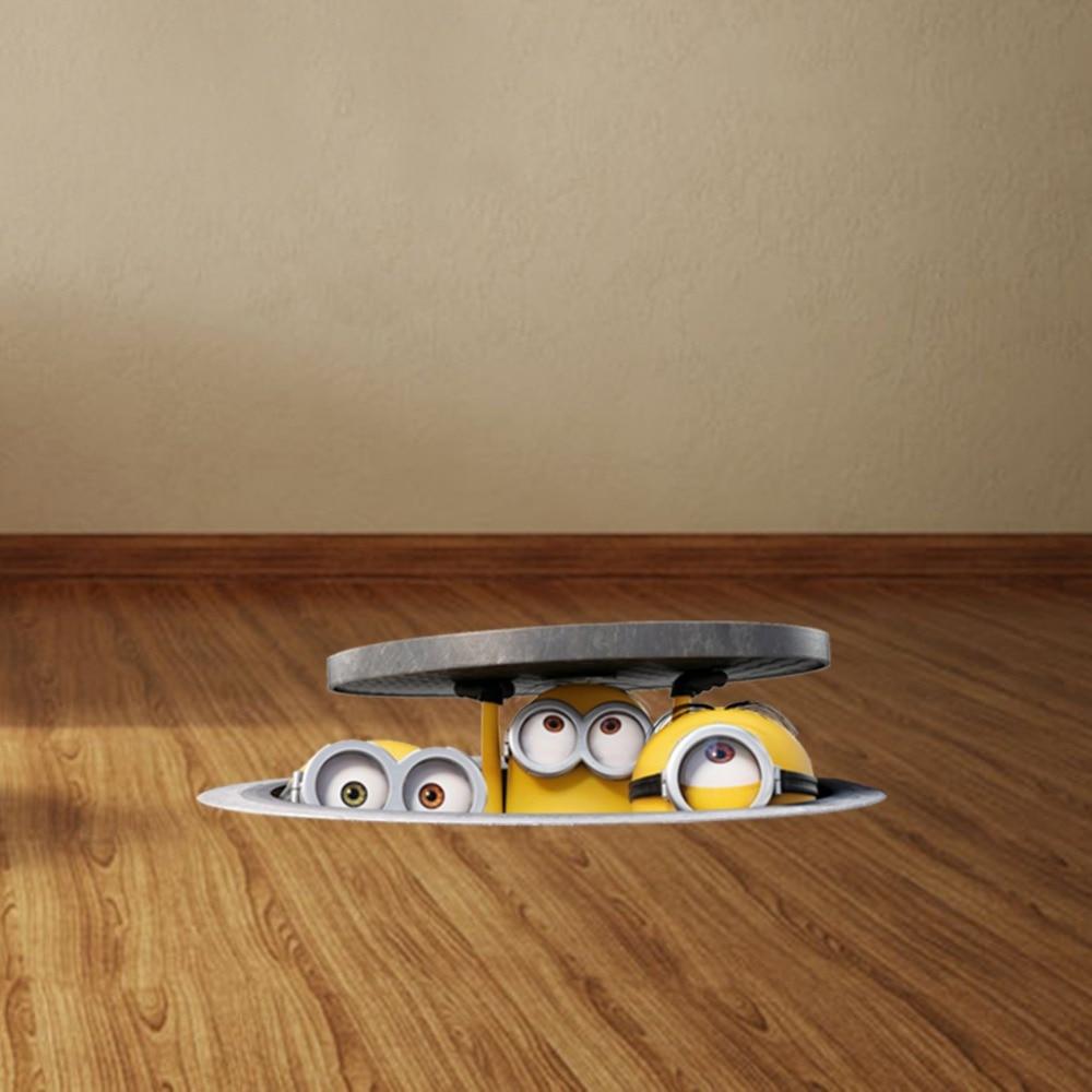 Cartoon Minions Through Sewer Wall Stickers Kids Room Nursery Floor Bedroom  Home Decor 3D Vinyl