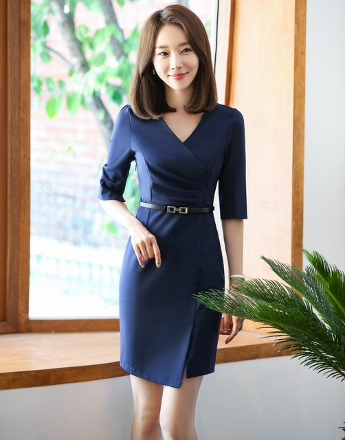 803aef5cd141 Formal Fashion Women Work Dresses Half Sleeve Ladies Office Dress with Belt  Female Office Uniform Styles