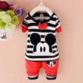 New Arrival 2016 Spring Newborn Suits Baby Girls Boys Brand Mini Suits Fashion Sports Kids T Shirt+Pants Suits Children Clothes